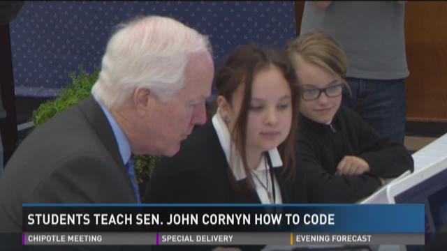 Students show off coding skills to Sen. John Cornyn