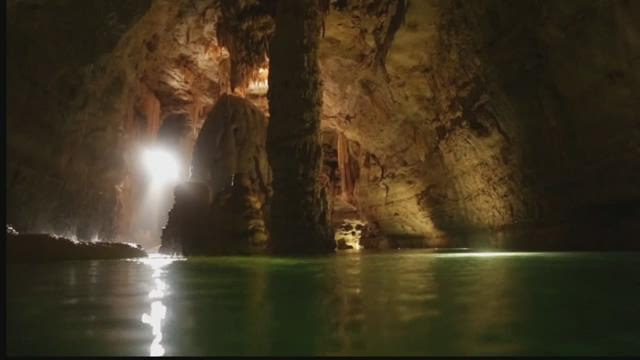 Spring floods fill local caves